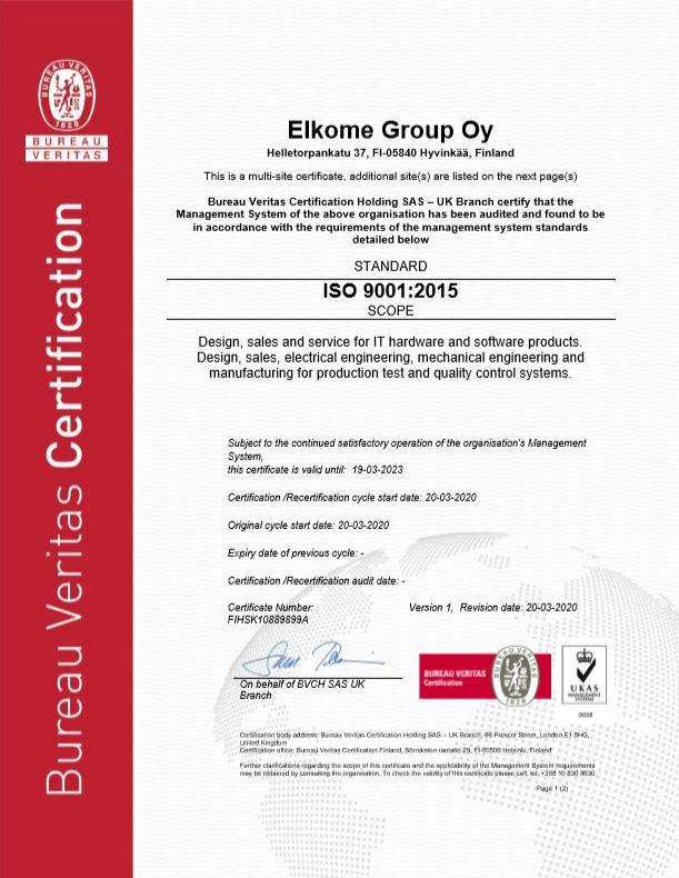 Elkomen ISO 9001 -laatujärjestelmäsertifikaatti, sivu 1