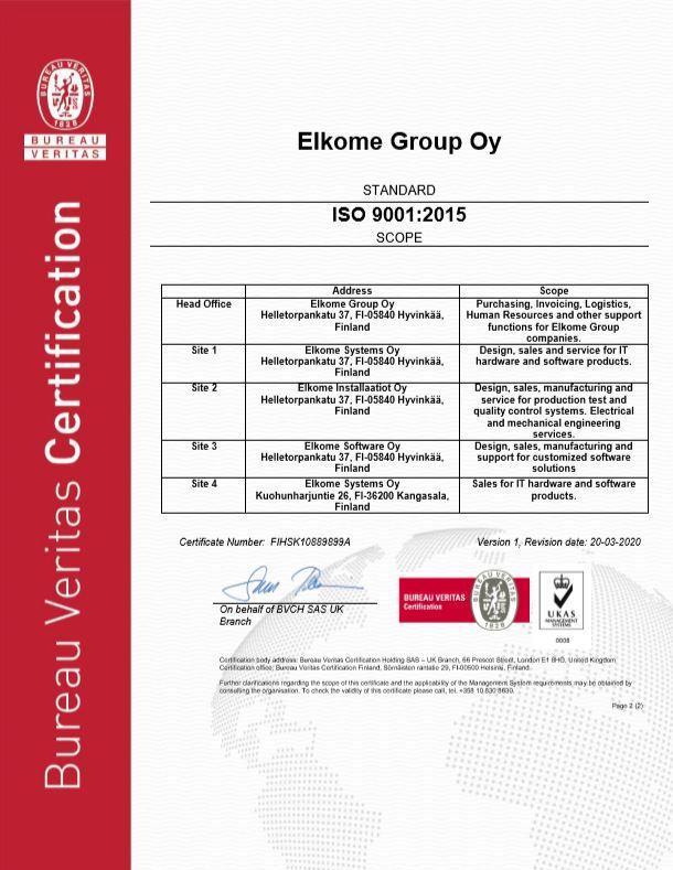 Elkomen ISO 9001 -laatujärjestelmäsertifikaatti, sivu 2